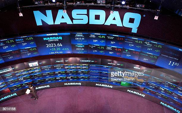 The NASDAQ market site is seen February 25 2004 in New York City The NASDAQ gained 1754 to close at 202298