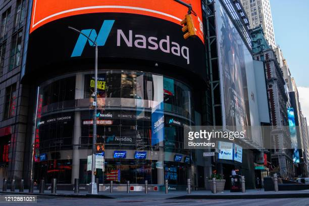 The Nasdaq Market Site stands in the Times Square area of New York US on Tuesday May 12 2020 New York City's lockdown is likely to continue into June...