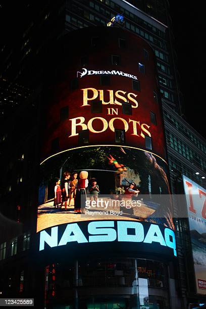 The NASDAQ MarketSite at the bottom of the Conde' Nast Building in Times Square at night in New York New York on AUG 03 2011