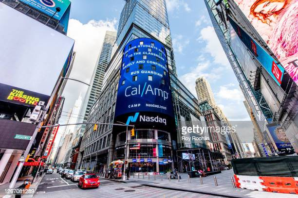 The Nasdaq MarketSite in the Times Square during the fourth phase of the coronavirus reopening on August 18 2020 in New York New York The fourth...