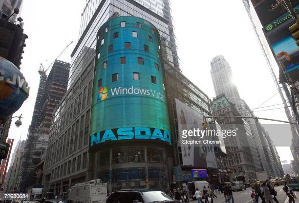 The NASDAQ screen shows the new Microsoft Vista November 30 2006 in Times Square in New York City Earlier Microsoft Chairman Steve Ballmer introduced...