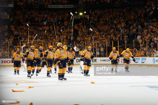 The Nashville Predators acknowledge the crowd after they defeated the Pittsburgh Penguins 51 in Game Three of the 2017 NHL Stanley Cup Final at...