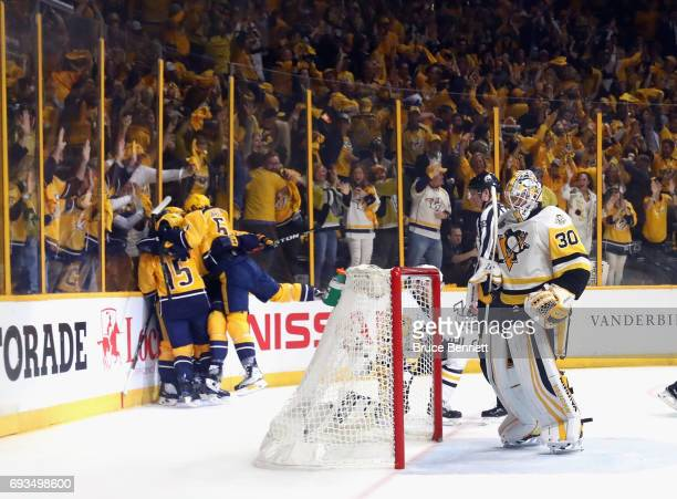 The Nashville Predators celebrate a goa by Calle Jarnkrok against Matt Murray of the Pittsburgh Penguins in Game Four of the 2017 NHL Stanley Cup...