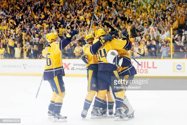 The Nashville Predators celebrate their 63 win over the Anaheim Ducks in Game Six of the Western Conference Final during the 2017 Stanley Cup...