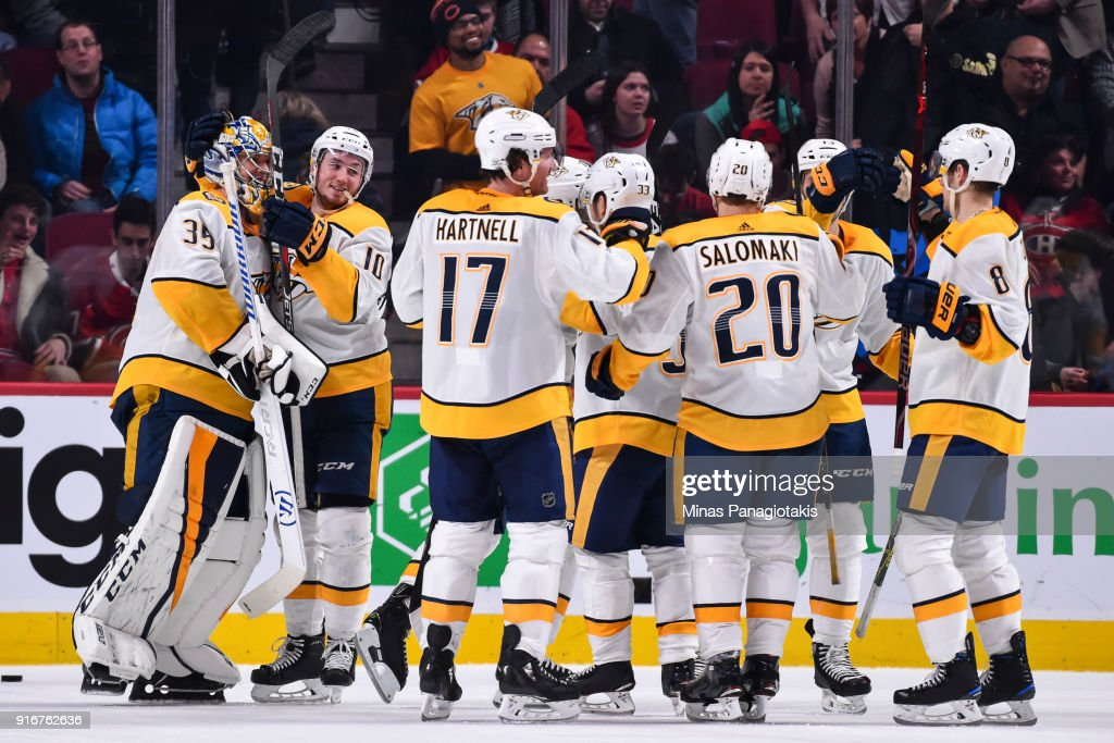 The Nashville Predators celebrate their shootout victory against the Montreal Canadiens during the NHL game at the Bell Centre on February 10, 2018 in Montreal, Quebec, Canada. The Nashville Predators defeated the Montreal Canadiens 3-2 in a shootout.