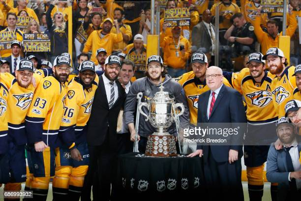 The Nashville Predators celebrate with the Clarence S Campbell Bowl after defeating the Anaheim Ducks 6 to 3 in Game Six of the Western Conference...