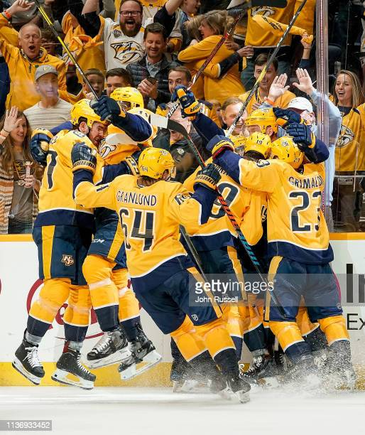 The Nashville Predators celebrates a 21 overtime win against the Dallas Stars in Game Two of the Western Conference First Round during the 2019 NHL...