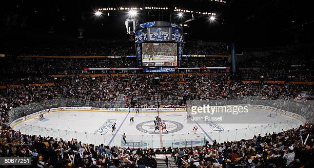 The Nashville Predators face off against the Detroit Red Wings during game three of the 2008 NHL conference quarterfinal series on April 14 2008 at...