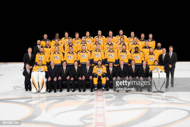 The Nashville Predators pose for their official team photo on March 21 2017 in Nashville Tennessee