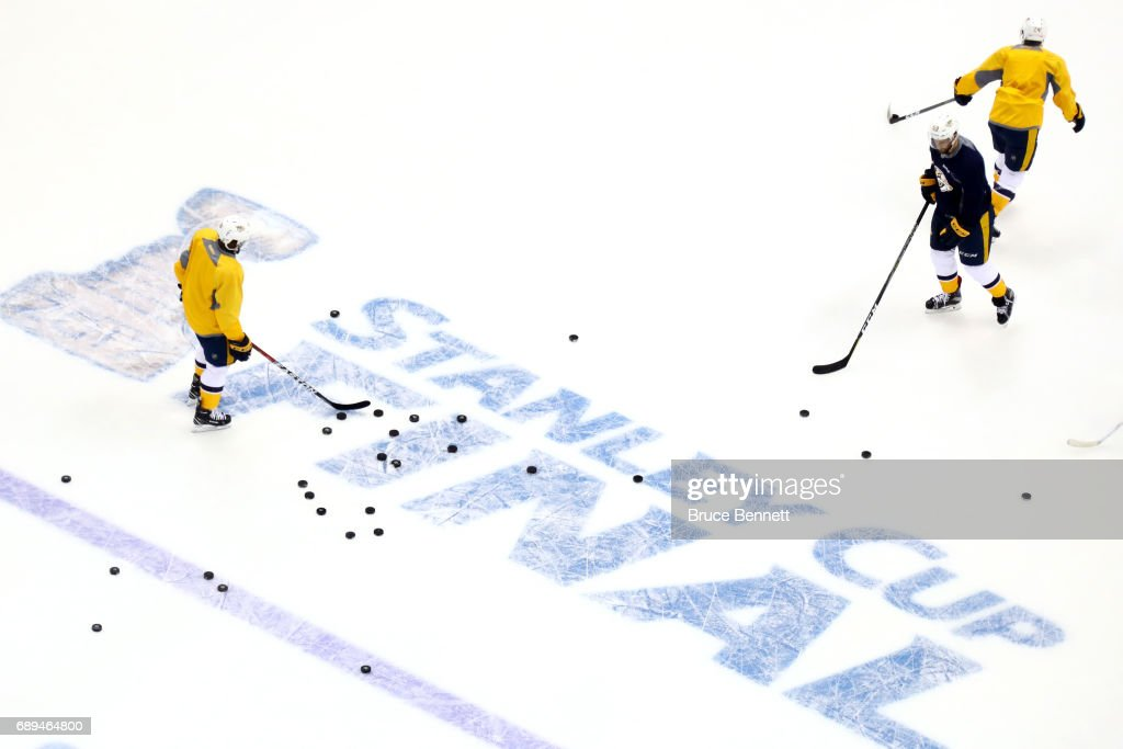 The Nashville Predators practice during Media Day for the 2017 NHL Stanley Cup Final at PPG PAINTS Arena on May 28, 2017 in Pittsburgh, Pennsylvania.