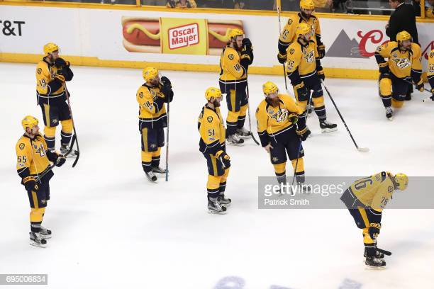 The Nashville Predators react after falling to the Pittsburgh Penguins 2-0 in Game Six of the 2017 NHL Stanley Cup Final at the Bridgestone Arena on...