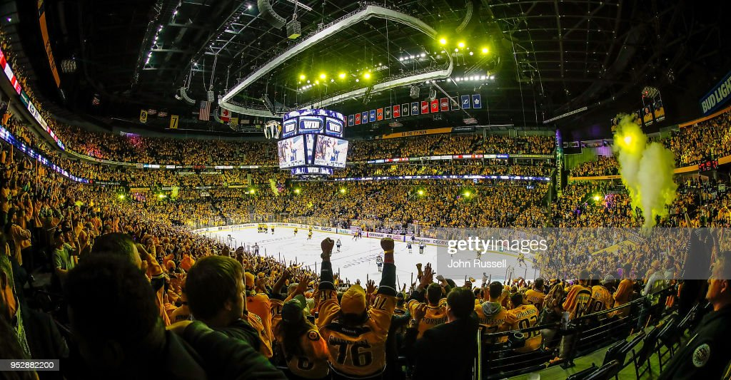 The Nashville Predators win 5-4 in overtime against the Winnipeg Jets in Game Two of the Western Conference Second Round during the 2018 NHL Stanley Cup Playoffs at Bridgestone Arena on April 29, 2018 in Nashville, Tennessee.