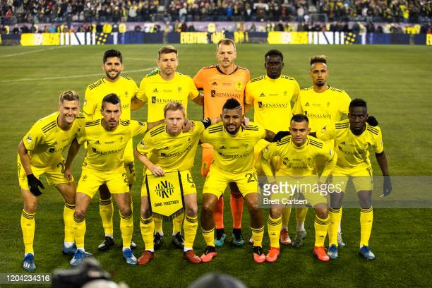 The Nashville SC starting lineup pose for a photograph before the game against Atlanta United at Nissan Stadium on February 29, 2020 in Nashville,...