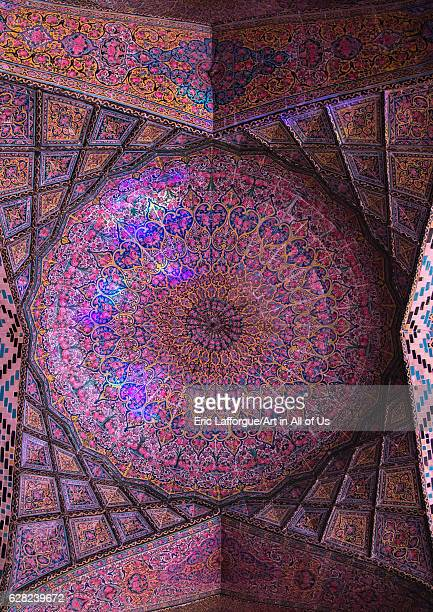 The Nasir ol Molk mosque ceiling with its beautiful colors, Fars Province, Shiraz, Iran on October 16, 2016 in Shiraz, Iran.