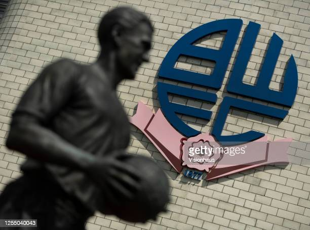 The Nat Lofthouse statue outside the University of Bolton Stadium, home of Bolton Wanderers FC on July 6, 2020 in Bolton, United Kingdom.
