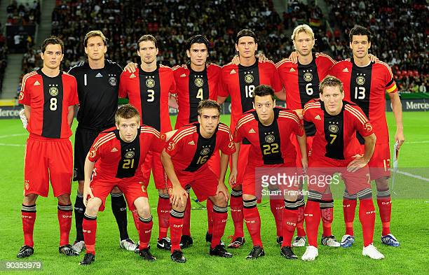 The nation football team of Germany during the international friendly match between Germany and South Africa at the BayArena on September 5 2009 in...