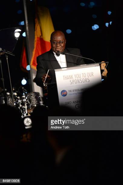 The National Achievement Award recipient H E President of the Republic of Ghana Nana Addo Dankwa AkufoAddo speaks during The AfricaAmerica Institute...