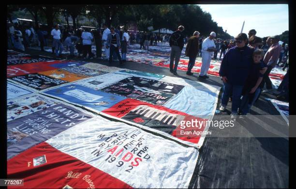 The National AIDS Memorial Quilt is on display on the Mall October 12 1996 in Washington DC The AIDS Memorial Quilt is a tool for prevention...