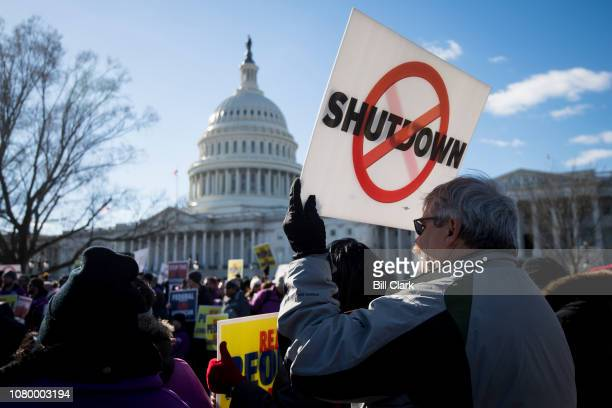 The National Air Traffic Controllers Association rally to Stop the Shutdown in front of the Capitol on Thursday Jan 10 2019