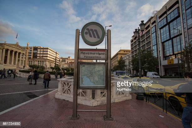 The National amp Kapodistrian University of Athens in Panepistimio is one of the landmarks of Athens located downtown with an underground metro stop...