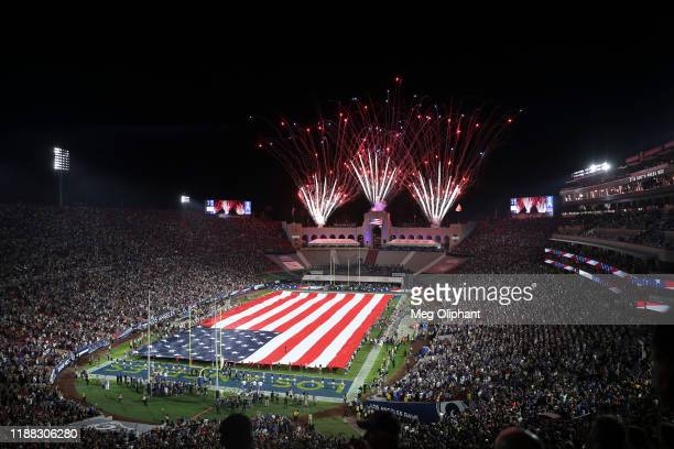 The national anthem is performed ahead of the game between the Los Angeles Rams and the Chicago Bears at Los Angeles Memorial Coliseum on November...