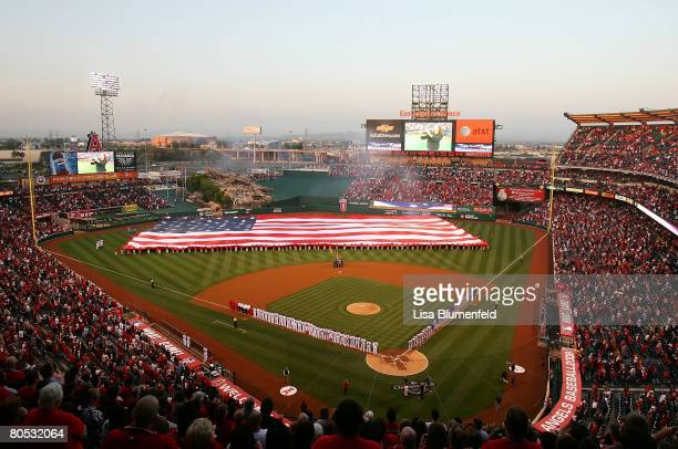 The national anthem is performed by Kenny G. Before the Los Angeles Angels of Anaheim take on the Texas Rangers at Angels Stadium April 4, 2008 in...