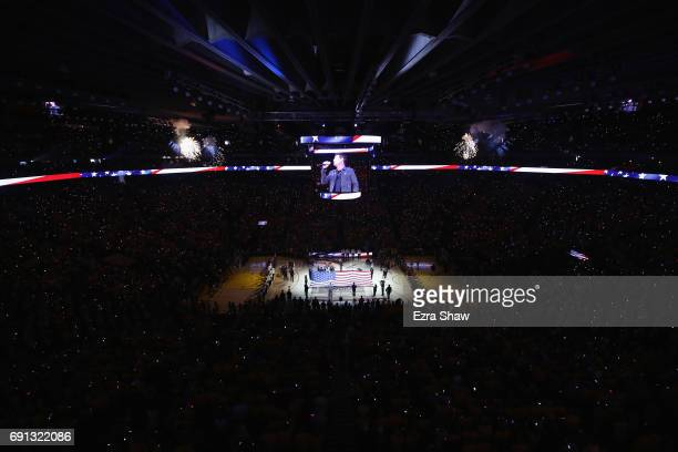 The national anthem is performed by Patrick Monahan prior to Game 1 of the 2017 NBA Finals between the Golden State Warriors and the Cleveland...