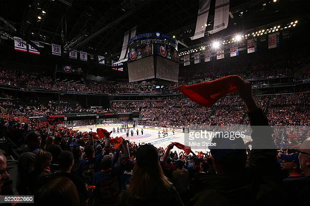 The national anthem is performed prior to Game Three of the Eastern Conference Quarterfinals between the New York Islanders and Florida Panthers...