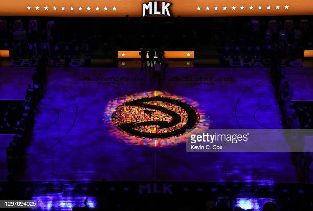 The National Anthem is performed prior to the game between the Atlanta Hawks and the Minnesota Timberwolves at State Farm Arena on January 18, 2021...