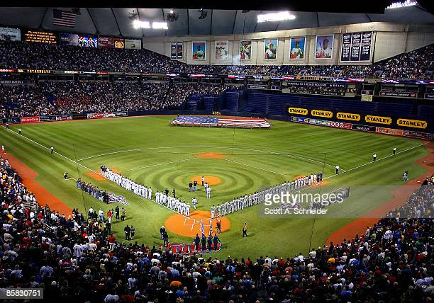 The national anthem is played at the Minnesota Twins Opening Day game against the Seattle Mariners on April 6 2009 at the Metrodome in Minneapolis...