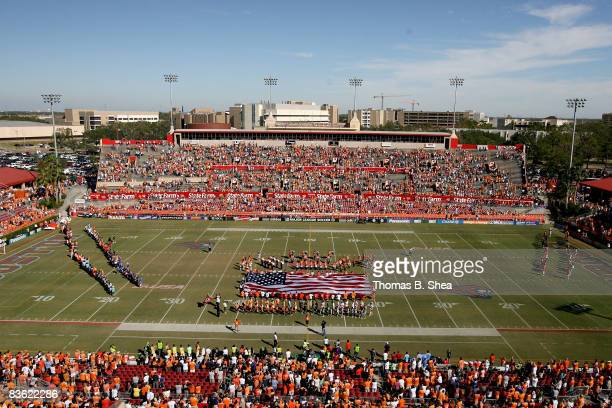 The national anthem is played before the Houston Dynamo play against the New York Red Bulls on November 9, 2008 at Robertson Stadium in Houston,...