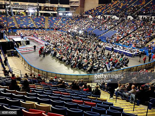The National Anthem is sung prior President-elect Donald Trump speech at Crown Coliseum on December 6, 2016 in Fayetteville, North Carolina. Trump...