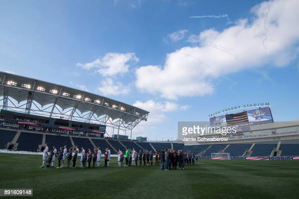 The national anthem is sung prior to the Division I Men's Soccer Championship held at Talen Energy Stadium on December 10 2017 in Philadelphia...