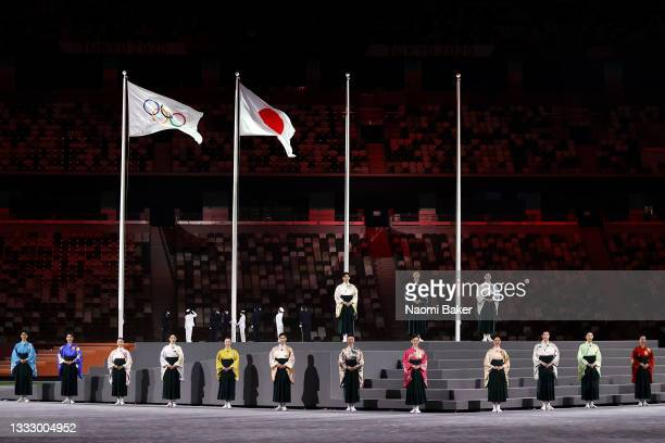 The national anthem of Japan is sung during the Closing Ceremony of the Tokyo 2020 Olympic Games at Olympic Stadium on August 08, 2021 in Tokyo,...