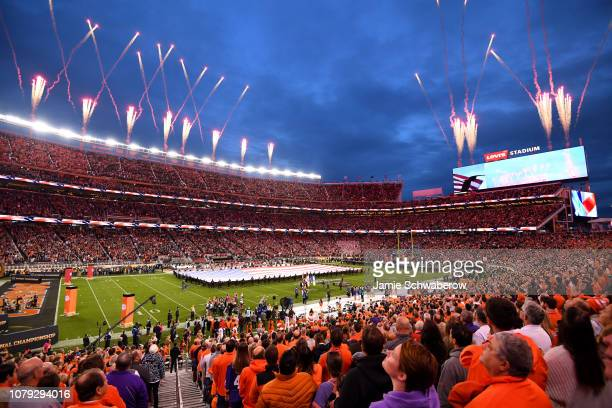 The national anthem takes place before the Alabama Crimson Tide and the Clemson Tigers play during the College Football Playoff National Championship...