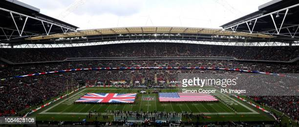 The national anthems are played prior to the International Series NFL match at Wembley Stadium London