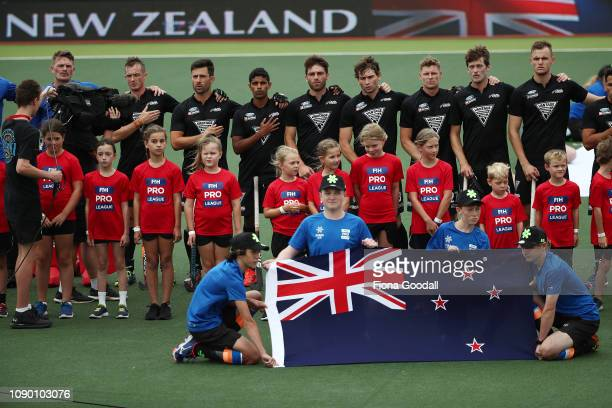The national anthems during the Men's FIH Field Hockey Pro League match between New Zealand and Netherlands at North Harbour Hockey Stadium on...
