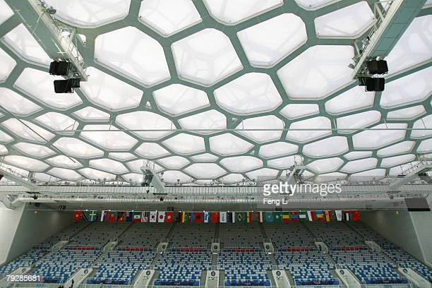 The National Aquatic Centre is unveiled to the press after a ceremony to inaugurate and deliver the National Aquatics Center for use January 28 2008...