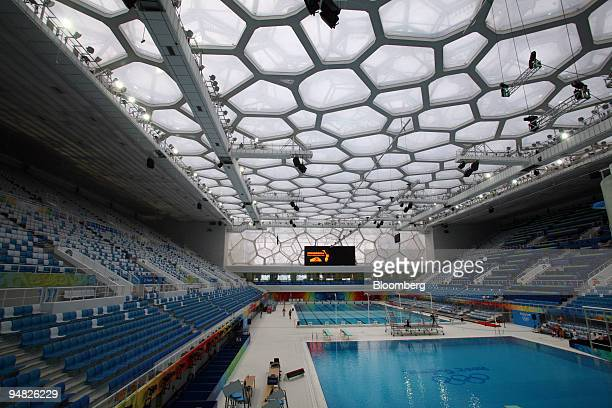 The National Aquatics Center also called the Water Cube stands in Beijing China on Friday Aug 1 2008 The Water Cube will host the swimming and diving...