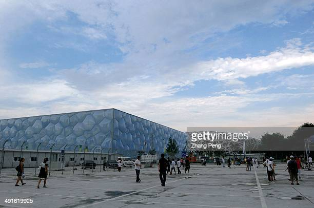 The National Aquatics Centre for the Beijing 2008 Olympics Games known as the Water Cube with its structural design based on the natural formation of...