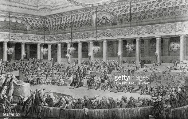 The National Assembly decreeing the abolition of feudal rights engraving French Revolution France 18th century