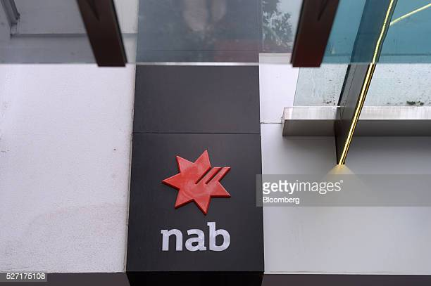 The National Australia Bank Ltd logo is displayed outside a branch in Melbourne Australia on Monday May 2 2016 National Australia is scheduled to...