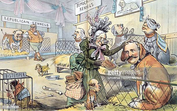 The national bench show' The Republican Kennels and the Democratic Kennels at the National Bench Show with President Theodore Roosevelt as a dog with...