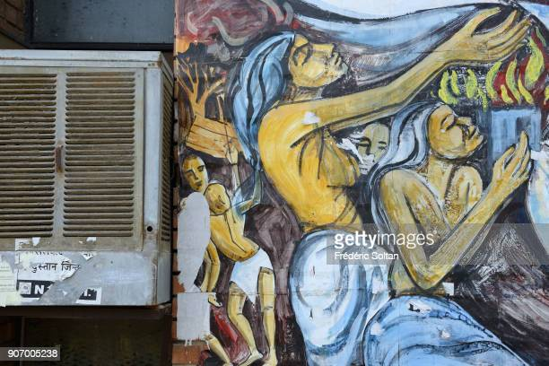 The National Capital Territory of Delhi Mural painting and graffitis in support of freedom liberty women and so on painted by the All India Student...