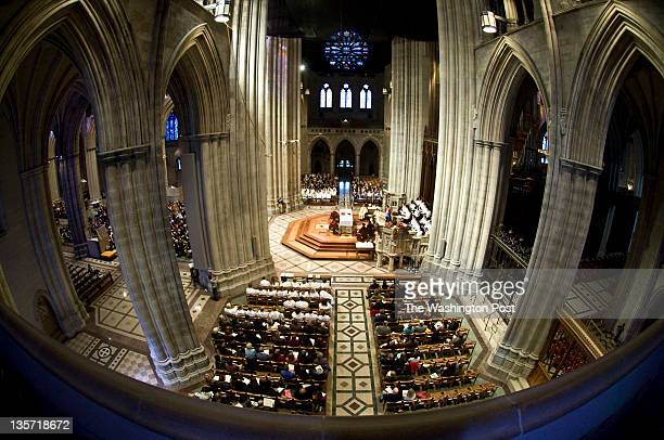 The National Cathedral photographed with a fisheye lens from the balcony documents the service as the new Episcopal Bishop Mariann Budde is seated...