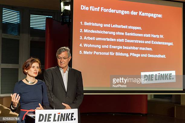 The National Chairman of the party the left Bernd Riexinger and the National Chairman Katja Kipping speak during the launch of the campaign against...
