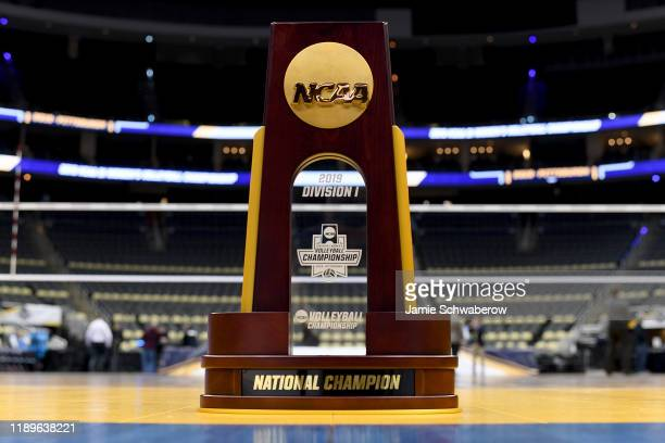 The national championship trophy is seen before the Division I Women's Volleyball Semifinals held at PPG Paints Arena on December 19, 2019 in...
