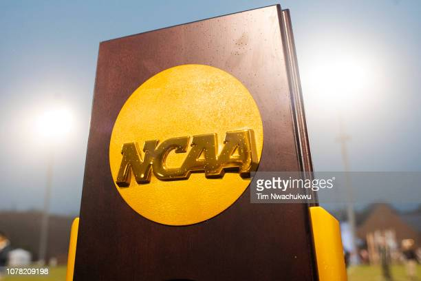 The national championship trophy is seen during the Division III Men's Soccer Championship held at the UNCG Soccer Stadium on December 1 2018 in...