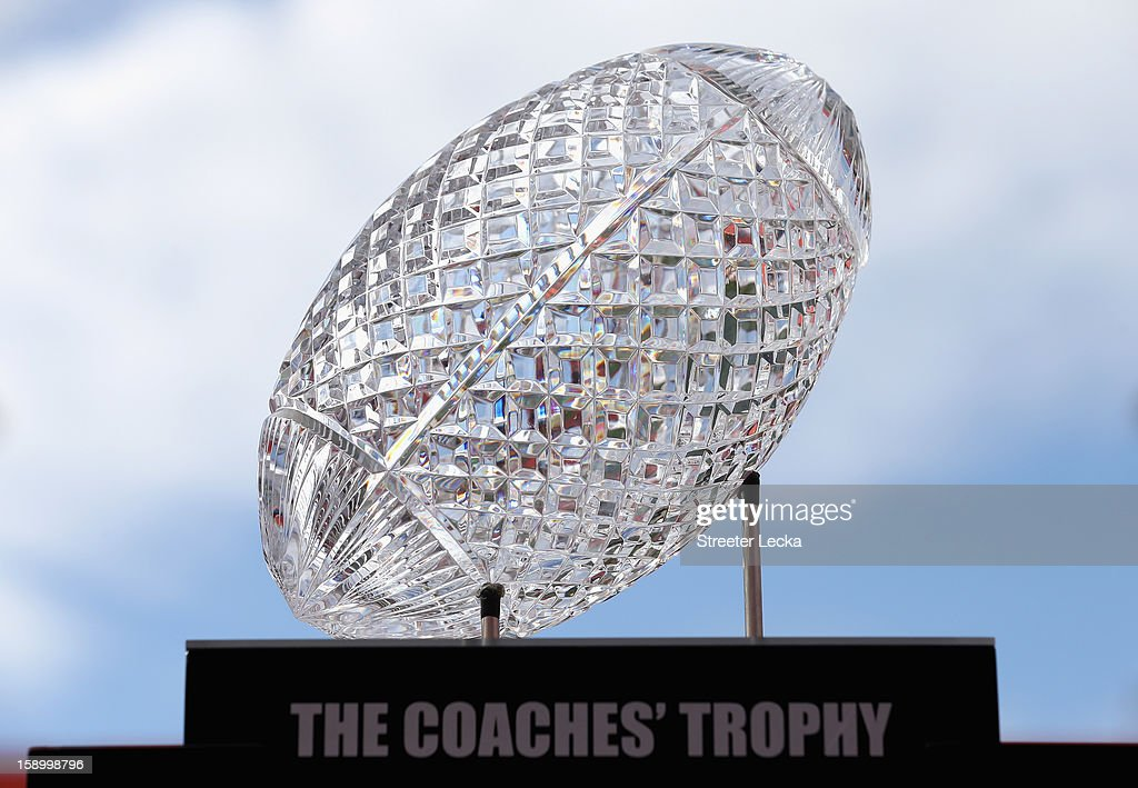 The National Championship trophy sits on display during Media Day ahead of the Discover BCS National Championship at Sun Life Stadium on January 5, 2013 in Miami Gardens, Florida.