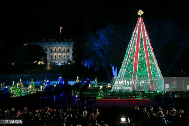 The National Christmas Tree at the 96th annual National Christmas Tree Lighting at The Ellipse in President's Park on November 28 2018 in Washington...